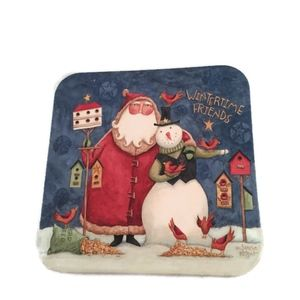 Christmas Coasters with Cork Back Santa & Snow Man